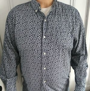 Navy button up with Coral print XXL